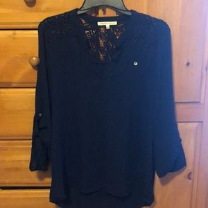 Blue lace shoulder blouse